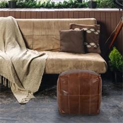 WOMO-DESIGN Quadratischer Sitzhocker braun, 40x40x40 cm, aus Leder mit Baumwolle Füllung