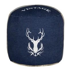 WOMO-DESIGN Runder Sitzhocker blau, Ø 35x43 cm, aus Segeltuch/Jeans mit Baumwolle Füllung