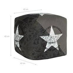 WOMO-DESIGN Quadratischer Sitzhocker grau, 42x42x42 cm, aus Segeltuch mit Baumwolle Füllung