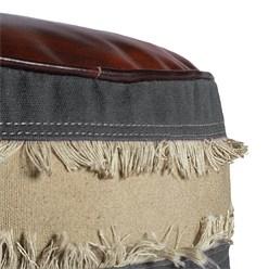 WOMO-DESIGN Runder Sitzhocker grau/braun/beige, Ø 42x42 cm, aus Echtleder/Segeltuch mit Baumwolle Füllung
