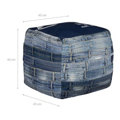 WOMO-DESIGN Quadratischer Sitzhocker blau, 45x45x45 cm, aus Jeans mit Baumwolle Füllung