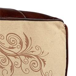 WOMO-DESIGN Quadratisch Sitzhocker beige/braun, 45x45x45 cm, aus Echtleder/Segeltuch mit Baumwolle Füllung