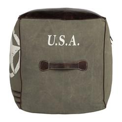 WOMO-DESIGN Quadratisch Sitzhocker braun/oliv, 45x45x45 cm, aus Echtleder/Segeltuch mit Baumwolle Füllung