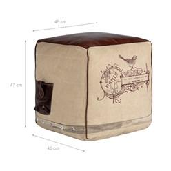 WOMO-DESIGN Quadratisch Sitzhocker beige/braun, 45x45x47 cm, aus Echtleder/Segeltuch mit Baumwolle Füllung