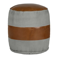 WOMO-DESIGN Runder Sitzhocker grau/braun, Ø 43x47 cm, aus Echtleder/Segeltuch mit Bamwolle Füllung