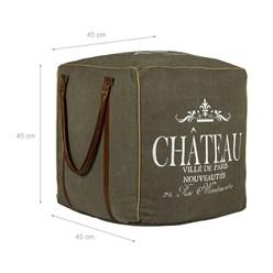 WOMO-DESIGN Quadratisch Sitzhocker oliv/braun, 45x45x45 cm, aus Echtleder/Segeltuch mit Baumwolle Füllung