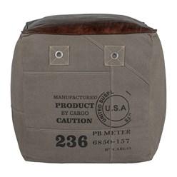 WOMO-DESIGN Quadratischer Sitzhocker grau/braun, 45x45x45 cm, aus Echtleder/Segeltuch mit Baumwolle Füllung