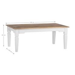 WOMO-DESIGN Couchtisch Rechteckig natur/weiß, 100x60x40 cm, aus Mangoholz