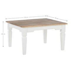 WOMO-DESIGN Couchtisch Quadratisch natur/weiß, 70x70x40 cm, aus Mangoholz
