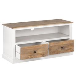 WOMO-DESIGN TV Lowboard natur/weiß, 110x45x57 cm, mit 2 Schubladen, aus Mangoholz