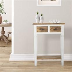 WOMO-DESIGN Konsolentisch natur/weiß, 60x35x80 cm, mit 2 Schubladen, aus Mangoholz