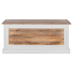 WOMO-DESIGN Sitzbank natur/weiß, 100x50x45 cm, aus Mangoholz