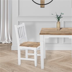 WOMO-DESIGN 2er Set Stühle natur/weiß, 45x45x90 cm, aus massives Mangoholz
