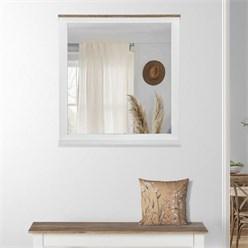 WOMO-DESIGN Wandspiegel natur/weiß, 80x76 cm, aus massives Mangoholz