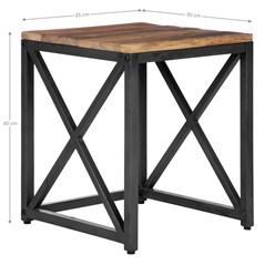 WOMO-DESIGN 2er Set Beistelltisch natur/schwarz, 40x35 / 50x45 cm, aus Mangoholz und Metall