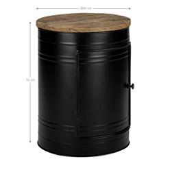 WOMO-DESIGN Beistelltisch rund, natur/schwarz, Ø 40 x 55 cm, aus Mangoholz und Metall pulverbeschichtet