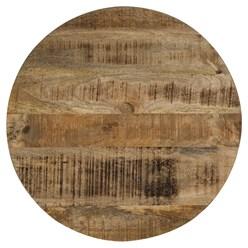 WOMO-DESIGN Couchtisch rund, natur/silber, Ø 60 x 38 cm, aus Mangoholz und Metall