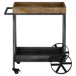 WOMO-DESIGN Servierwagen natur/schwarz, mit 2 Böden, 60x40x80 cm, aus massives Mangoholz und Metall pulverbeschichtet