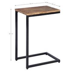 WOMO-DESIGN Beistelltisch natur/schwarz, 40x30x60 cm, aus Mangoholz und Metall pulverbeschichtet