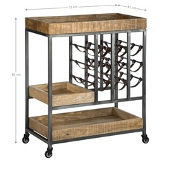 WOMO-DESIGN Servierwagen natur, 72x41x85 cm, auf Rollen mit Ablagen Flaschenhaltern, aus massives Akazienholz und Metall