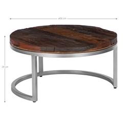 WOMO-DESIGN 2er Set Couchtisch natur, Ø 70x35 / 56x29 cm, aus Akazienholz