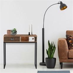 WOMO-DESIGN Konsolentisch braun, 80x30x80 cm, mit 2 Schubladen, aus Akazien- und Schwellenholz mit Metallbeine