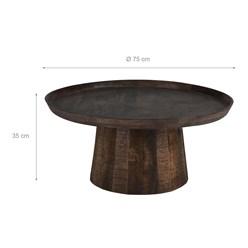 WOMO-DESIGN Couchtisch dunkelbraun, Ø 75x35 cm, aus massives Mangoholz