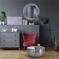 WOMO-DESIGN Dekorative Wandspiegel silber, Ø 64 cm, aus Glas mit Metallrahmen