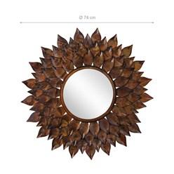 WOMO-DESIGN Dekorative Wandspiegel braun, Ø 74 cm, aus Glas mit Metallrahmen