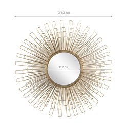 WOMO-DESIGN Dekorativer Wandspiegel gold, Ø 80 cm, aus Glas mit Metallrahmen