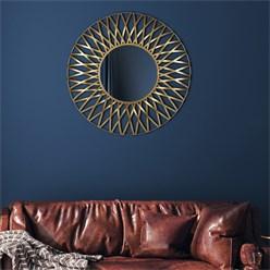WOMO-DESIGN Dekorative Wandspiegel gold, Ø 84 cm, aus Glas mit Metallrahmen