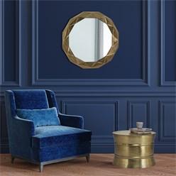 WOMO-DESIGN Dekorative Wandspiegel gold, Ø 84 cm, aus Glas und Metallrahmen aus Aluminium