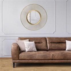 WOMO-DESIGN Dekorative Wandspiegel gold, Ø 82 cm, aus Glas mit Metallrahmen