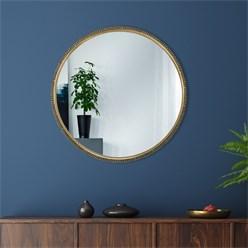 WOMO-DESIGN Dekorative Wandspiegel gold, Ø 80 cm, aus Glas mit Metallrahmen