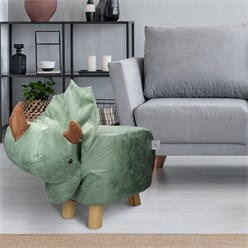 WOMO-DESIGN Tierhocker Dinosaurier braun/grün, 78x31x58 cm, aus Kunstleder