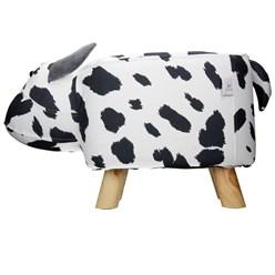 WOMO-DESIGN Tierhocker Kuh weiß/schwarz, 64x31x37 cm, aus Kunstleder