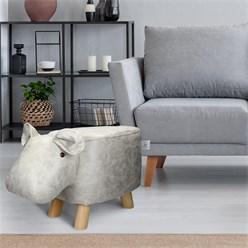 WOMO-DESIGN Tierhocker Nilpferd weiß/grau, 65x31x37 cm, aus Kunstleder