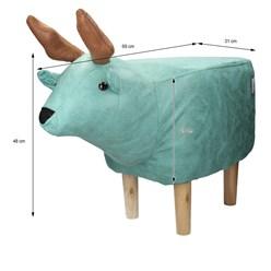 WOMO-DESIGN Tierhocker Elch türkis, 69x31x48 cm, aus Kunstleder