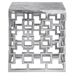 WOMO-DESIGN Beistelltisch silber, 36x36x40 cm, aus Aluminium mit Nickelbeschichtung