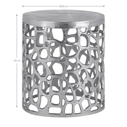 WOMO-DESIGN Beistelltisch Olymp silber, Ø 36x40 cm, aus Aluminium mit Nickelbeschichtung