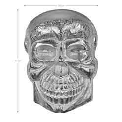 WOMO-DESIGN Deko Skull Totenkopf Wandskulptur silber, 42x30 cm, mit Nickel Finish, aus Aluminium