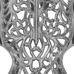 WOMO-DESIGN Schädel mit Hörner Skulptur silber, 57x35 cm, aus Aluminium