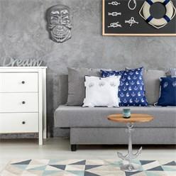 WOMO-DESIGN Beistelltisch mit Anker, weiß, Ø 50x54 cm, rund, aus Aluminium mit Nickelbeschichtung und Mangoholz