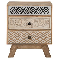 WOMO-DESIGN Beistelltisch natur, 60x40x50 cm, mit 3 Schubladen, aus Mangoholz und MDF