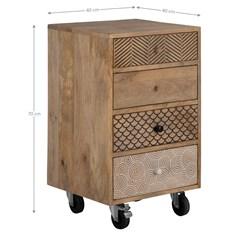 WOMO-DESIGN Nachttisch mit 4 Schubladen 70x40x40 cm, aus massivem Mangoholz