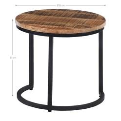 WOMO-DESIGN 3er Set Beistelltisch, natur/schwarz, Ø 67/50/35 cm, aus massivem Mangoholz und pulverbeschichtet Metallgestell