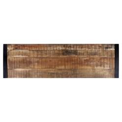 WOMO-DESIGN Konsolentisch natur/schwarz, 140x40 cm, mit 2 Schubladen, aus massives Akazienholz und pulverbeschichtet Metallgestell