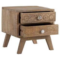 WOMO-DESIGN Nachttisch braun mit 2 Schubladen, 40x40x35 cm, aus massivem Mangoholz und MDF