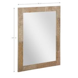 WOMO-DESIGN Wandspiegel braun, 100x80 cm, aus Mangoholz und MDF