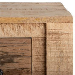 WOMO-DESIGN Konsolentisch braun mit 5 Schubladen, 77x136x40 cm, aus massives Mangoholz und MDF